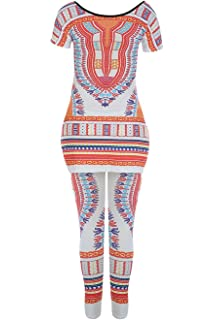 6714323fa949 Doubleal Womens Dashiki Suit Short 2 Pieces Outfits Plus Size Sleeve Side  Slit Tops + Skinny