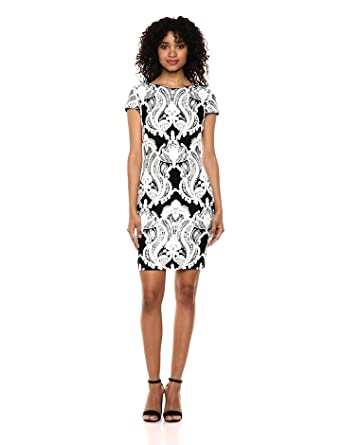 064b58f7 Dress the Population Women's Tabitha Cap Sleeve Sequin Mini Dress,  Black/White, XX