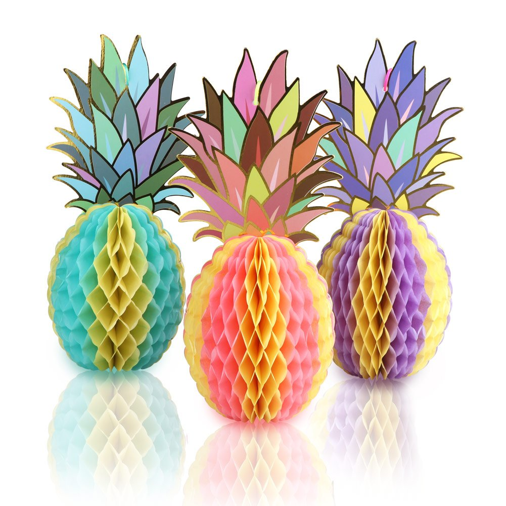 AerWo Colorful Paper Pineapple Honeycomb Jungle Party Favors Table Centerpiece for Tropical Party Decorations and Hawaiian Themed Party Supplies (3pcs)