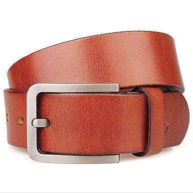 FGSJEJ Première couche en cuir hommes ceinture boucle ardillon simple  ceinture en cuir allongeant grande taille 100400028b7
