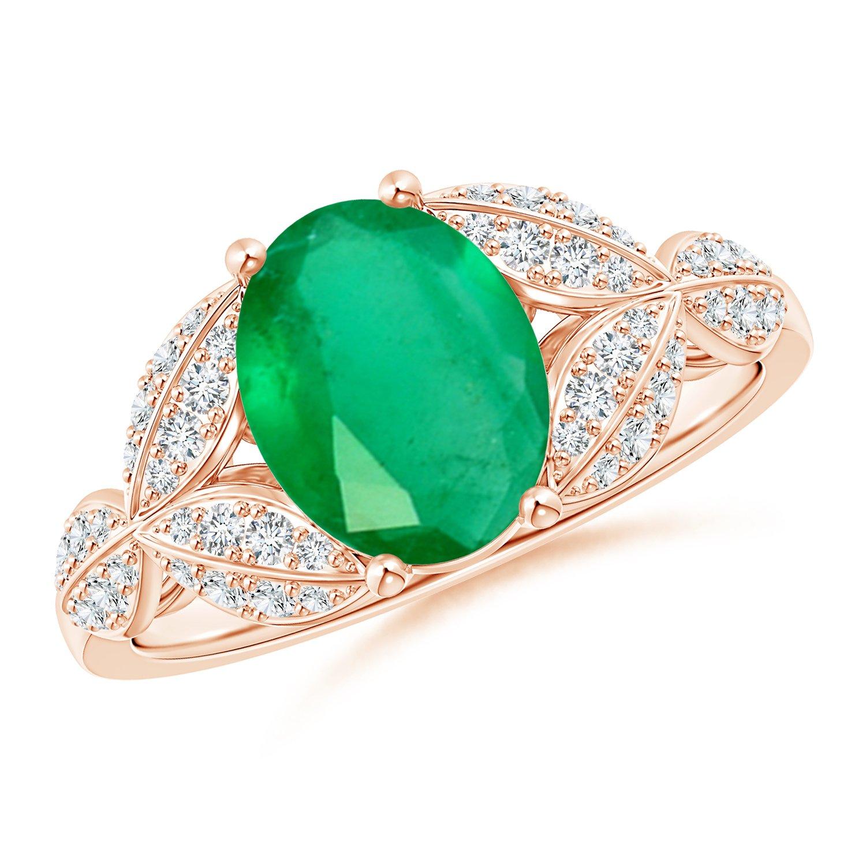 Angara Emerald and Diamond Trillium Petal Flower Ring xmC23