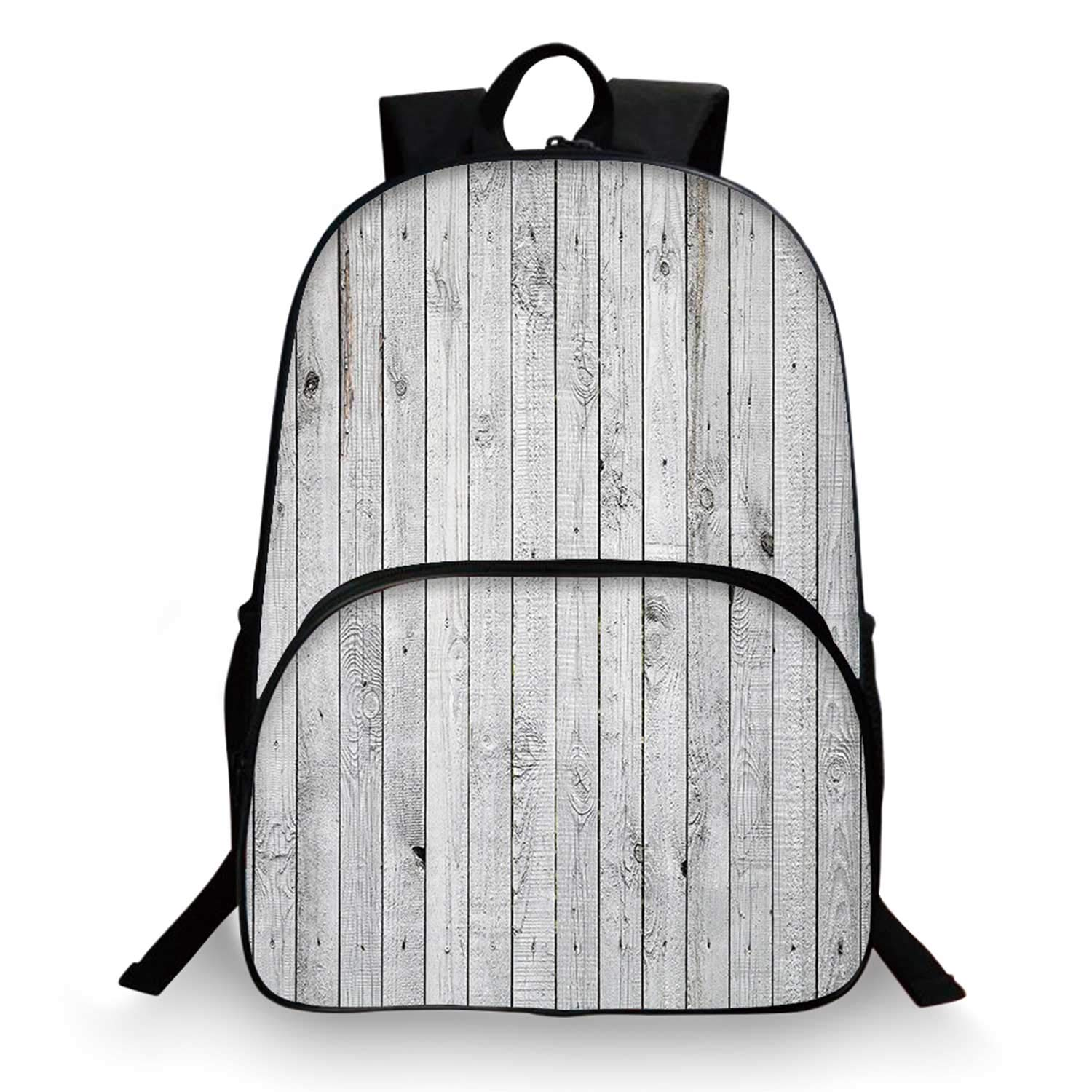 Grey and White Various Schoolbag,Vertical Lined Wooden Board Background Black and White Tone Vintage Planks Picture for student,11''Lx6''Wx15''H by C COABALLA