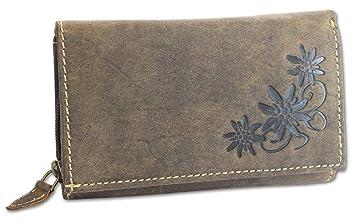 27268776cf688 HAROLD S Damen Geldbörse Leder Langbörse große Damenbörse Portemonnaie mit  Edelweiß-Prägung antikbraun (5497)