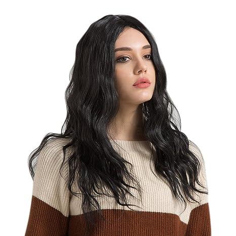 Espeedy Mujeres Sexy pelucas onduladas largas y rizadas Central Parting Color negro sintético Hair Lady Cosplay