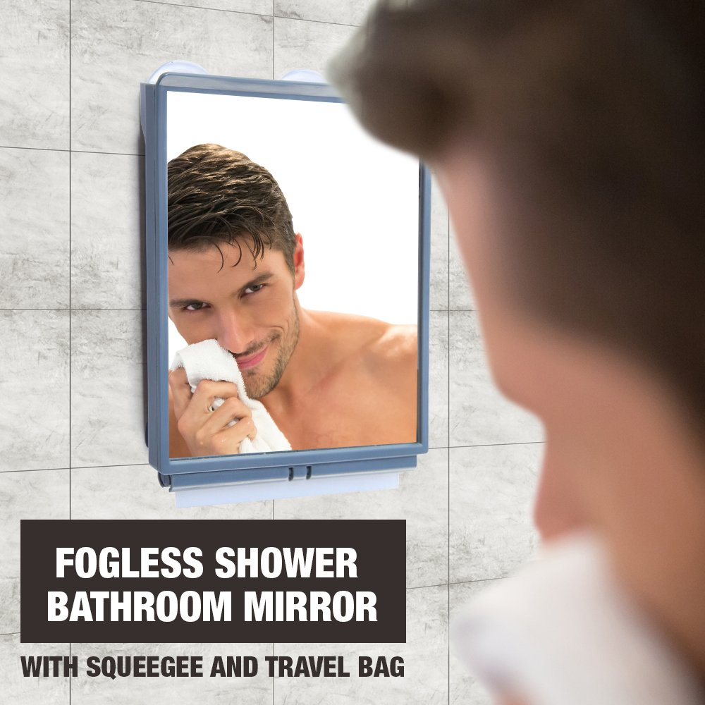 ToiletTree Products Deluxe LED Fogless Shower Mirror With Squeegee, 1.45  Ounce TTP LED