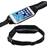 Running Waist Belt Pack - Sports Waistband w/ Zipper-iPhone 7, Samsung Water Resistant Case w/ Transparent Touch Screen Access, Key Ring&Side Pocket-Universal Exercise Workout&Fitness Smartphone Pouch