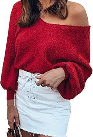 5491e7abdaf0ed Angashion Women Sweatshirts - Long Sleeve V Neck Fleece Fuzzy Loose Pullover  Sweater Tops Red S