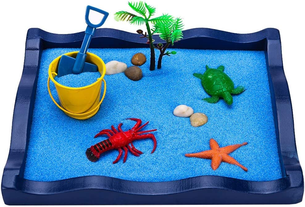 Beach Sandbox for Desk, Miniature Beach and Zen Garden Sand Toys Play Kit for Kids, Adults, Office, Tabletop Sandbox Gift Set with Natural Sand, Iron Tray, Sand Shovel and Accessories (Multicolour)