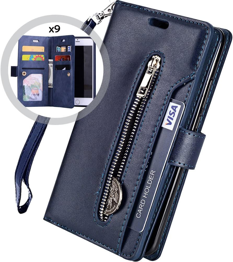 iPhone 8 Wallet Case for Women/Men,Auker Trifold 9 Card Holder Leather Flip Wallet Case with Strap,Stand&Money Pocket Shockproof Folio Book Magnetic Zipper Wallet Purse Case for iPhone 7/8 Navy