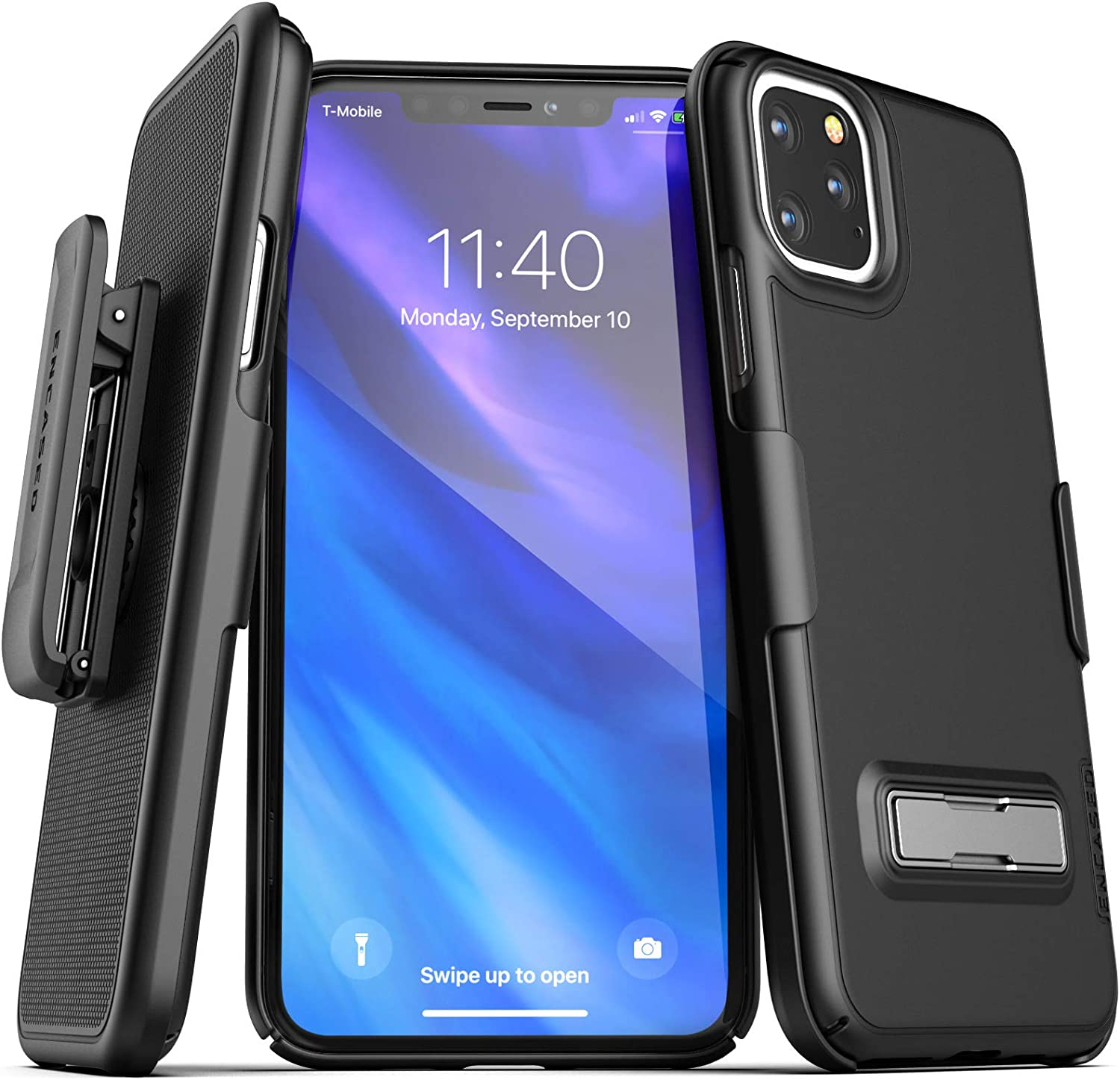 Encased iPhone 11 Pro Max Belt Clip Case with Kickstand (2019 Slimline) Ultra Thin Cover with Holster - Black