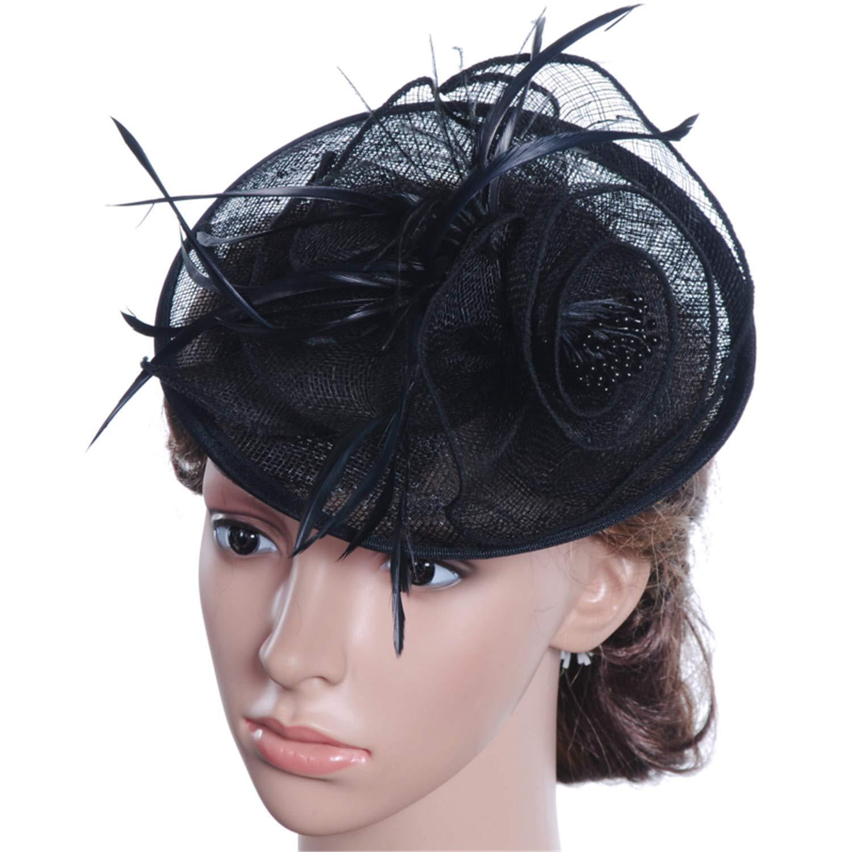 Vintage Flower Fedora Women Elegant Fedora Hat with Feather Female Solid Church Hat Bridal Wedding Fascinator Hat