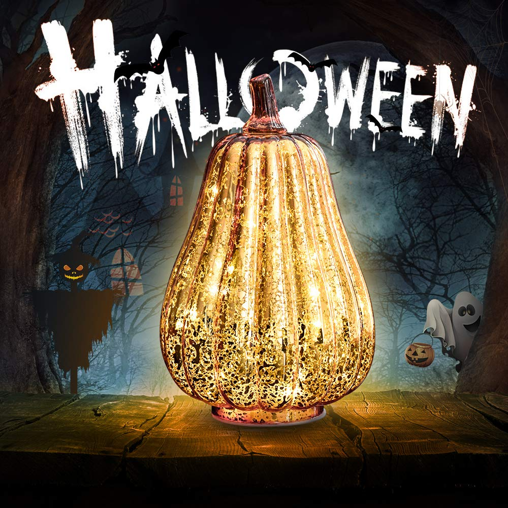 Halloween Pumpkin Lantern Light, Jack o Lantern Decorative Pumpkins Mercury Glass Decor Fall Decorations Led Timer Candles Battery Operated Large