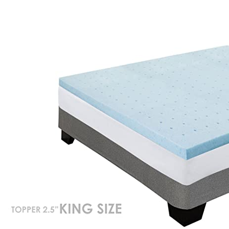 gel king size memory foam mattress topper 25 inch thick adaptive support smart pressure point