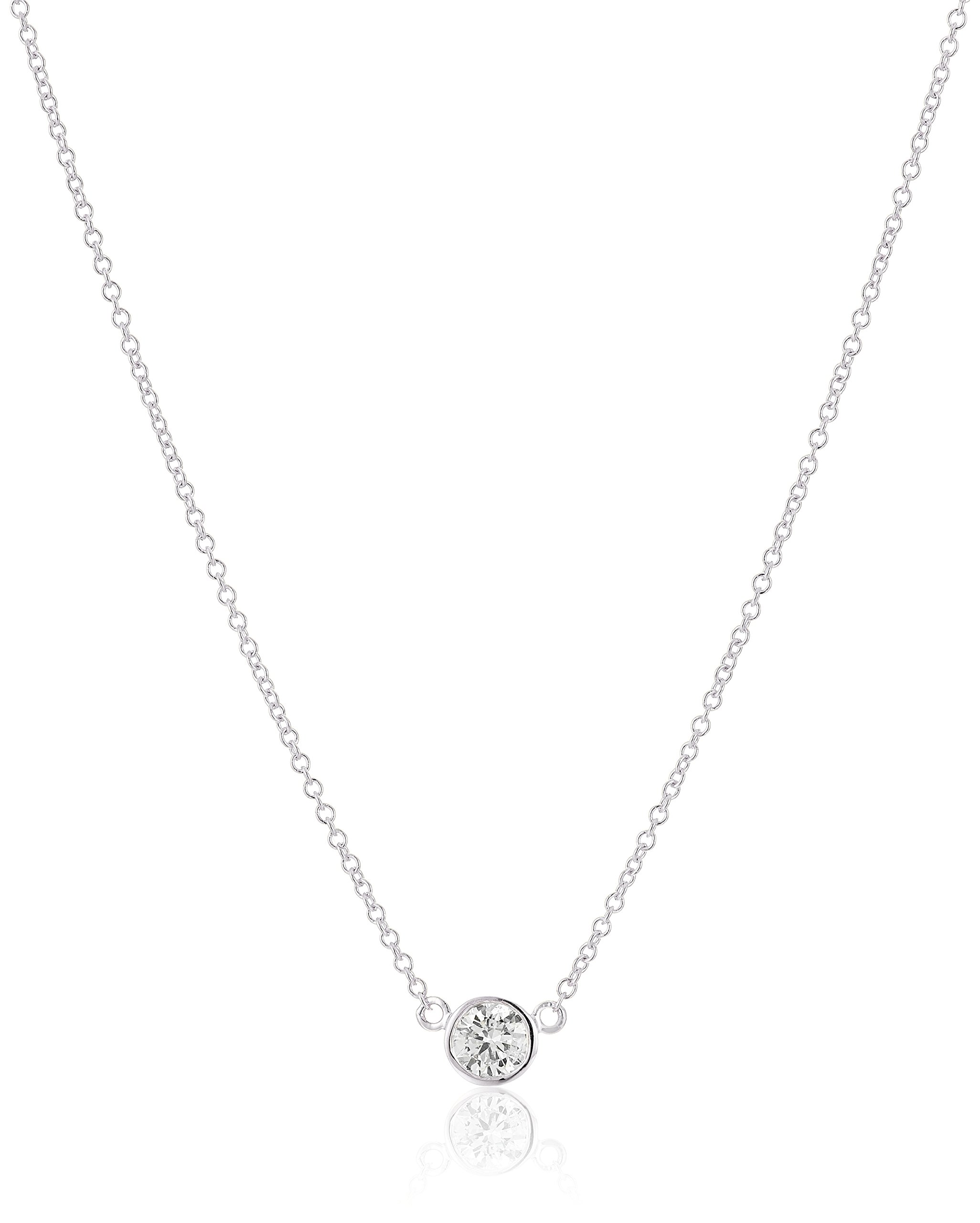 14k White Gold Bezel Set Solitaire Adjustable Pendant Necklace (1/4cttw, K-L Color, I2-I3 Clarity), 16'' + 2'' Extender