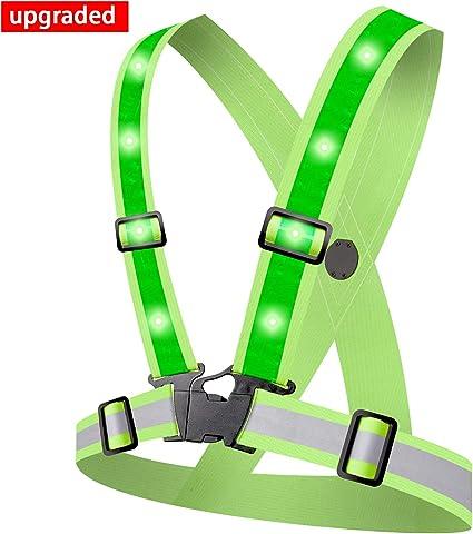 Alviller Led Reflektorweste Mit 12 Led Lichter Sicherheitsweste High Reflector Reflektierende Weste Warnweste Für Laufen Straßenbauarbeiten Sport Freizeit