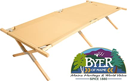 BYER OF MAINE Maine Heritage Cot Extra Large Size Holds 375lbs Hardwood Frame Maine Heritage cot Army cot