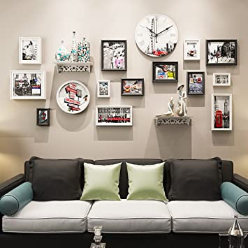 Rahmen Foto Wandrahmen Fotorahmen Sets, Wohnzimmer Fotowand Mit Einer Uhr,  Wand Kreative Kombination Sofa