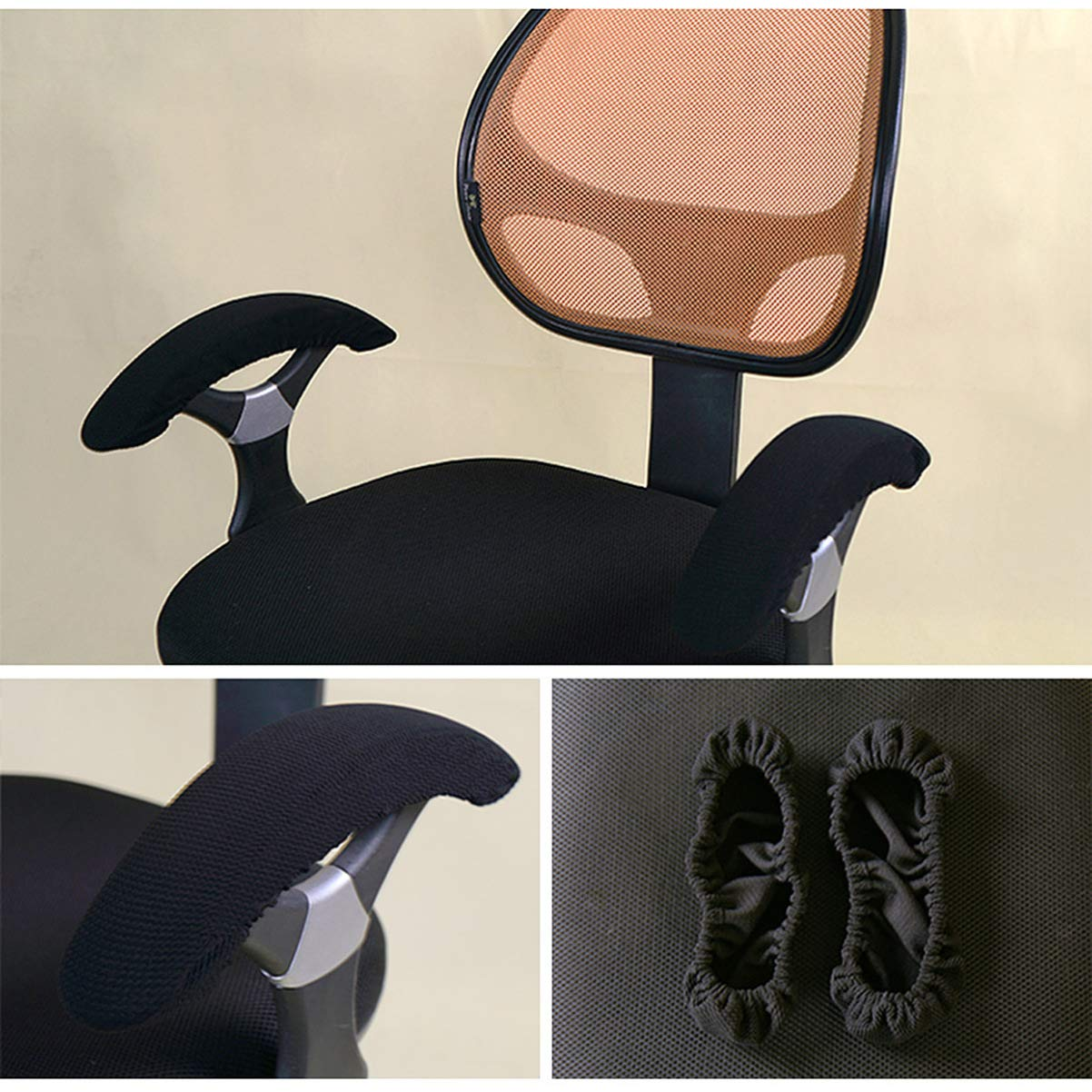 Nero IMIKEYA Fodere per braccioli per Sedia da Ufficio Fodere per braccioli Fodere per Proteggi braccioli per Sedia da Computer addensate Maniche per braccioli per Sedia con Fascia Elastica