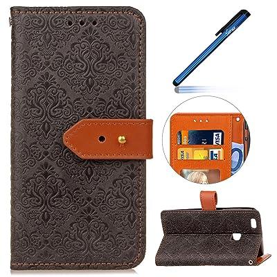 Étui Housse Huawei P10 Lite, Coque Huawei P10 Lite, Ysimee Vintage Coque Huawei P10 Lite Étui en Cuir Case rétro Portefeuille Folio Leather Flip Case Cover Wallet Pouch Protection Coque avec Souple Silico