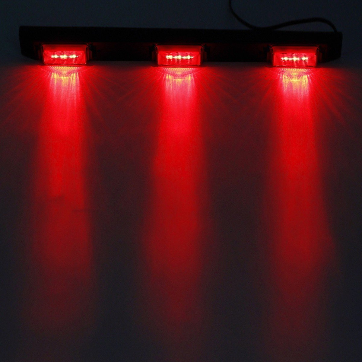 Smoked Dually Bed Front Rear Side Fender Marker Lights Lamps Partsam Led Marker Lights kit Replacement for Chevy and GMC Pickup Trucks Red 3-Lamp 9 LED ID Light Bar