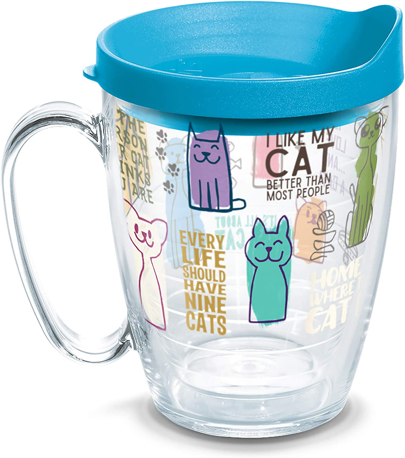 Tervis Cat Sayings Insulated Tumbler with Wrap and Turquoise Lid, 16oz Mug, Clear