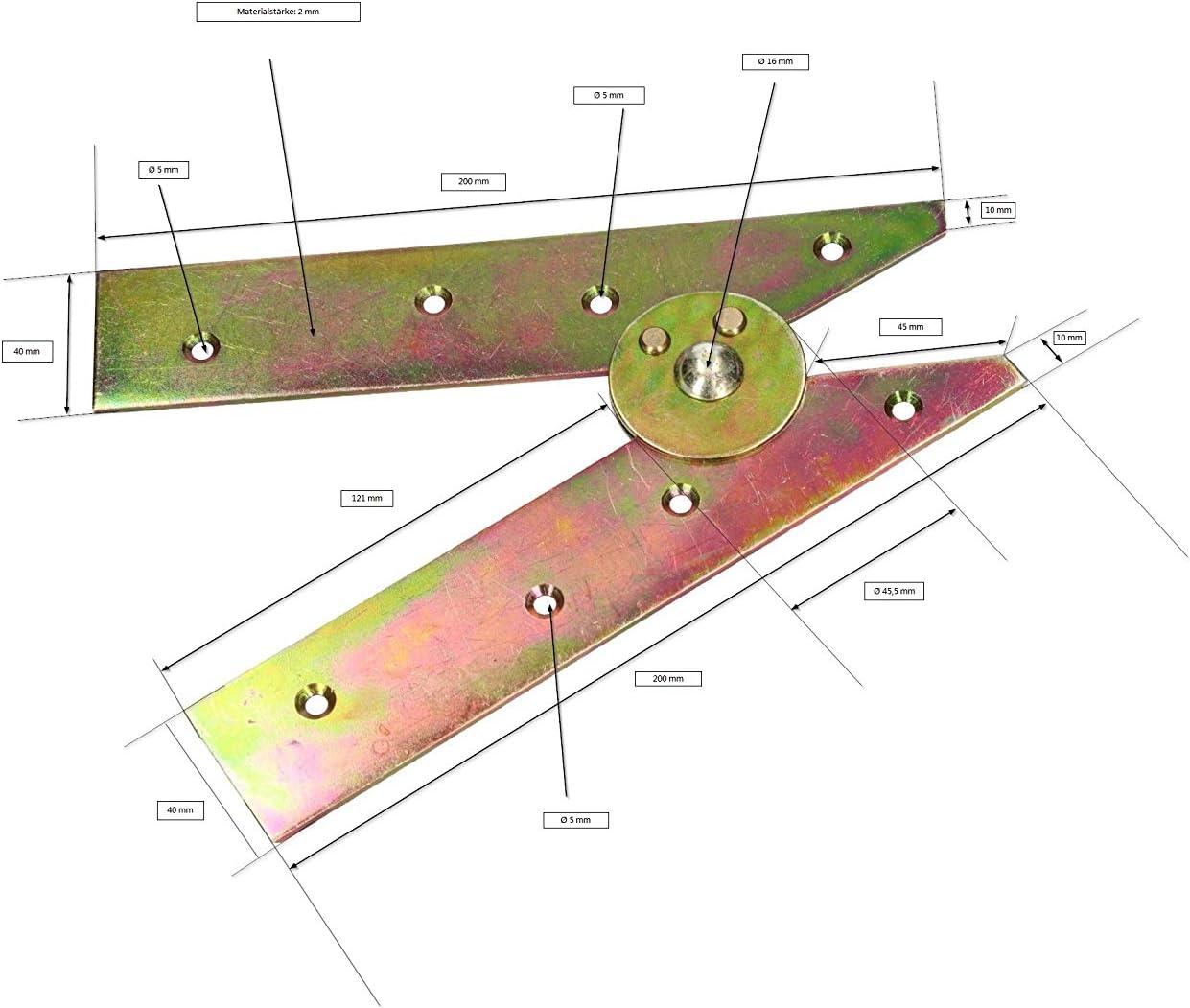 bisagras de escalera galvanizadas robustas Bisagras de escalera color amarillo 200 mm KOTARBAU apertura sin ganchos