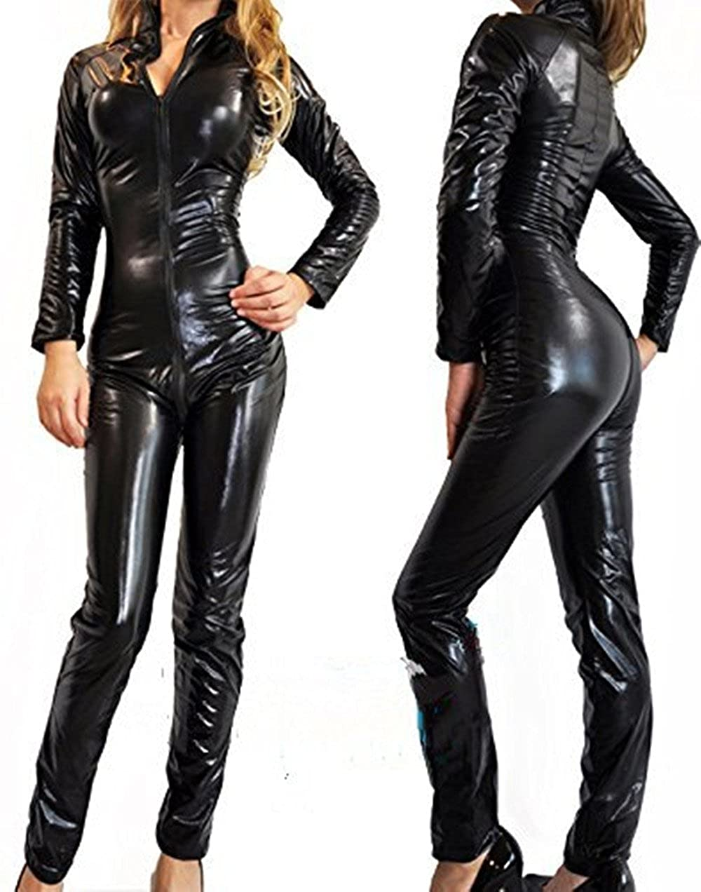 LAFIZZLE Plus Size S - 6XL Pvc Latex Bodysuit Catsuit Jumpsuit Faux Leather Costume