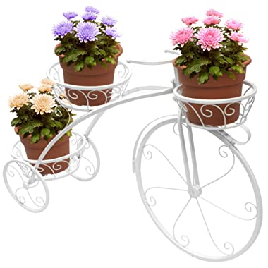 Sorbus Tricycle Plant Stand - Flower Pot Cart Holder - Ideal for Home, Garden, Patio - Great Gift for Plant Lovers, Housewarming, Mother's Day - Parisian Style (White)