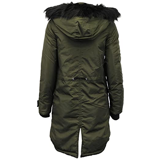 Ladies Parka Jacket Brave Soul Fish Tail Coat Hooded Fur Padded Quilted  Lined Winter New: Amazon.co.uk: Clothing