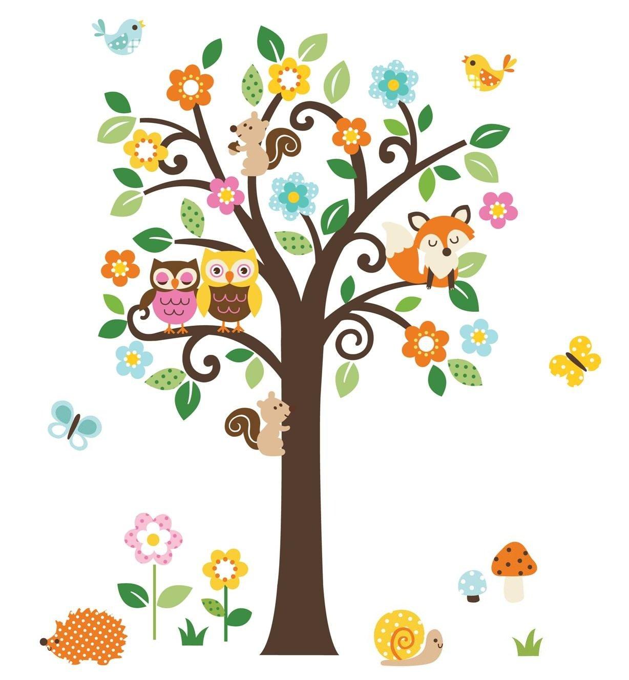 Amazon.com: Charming Woodland Giant Peel U0026 Stick Wall Art Sticker Decals:  Baby