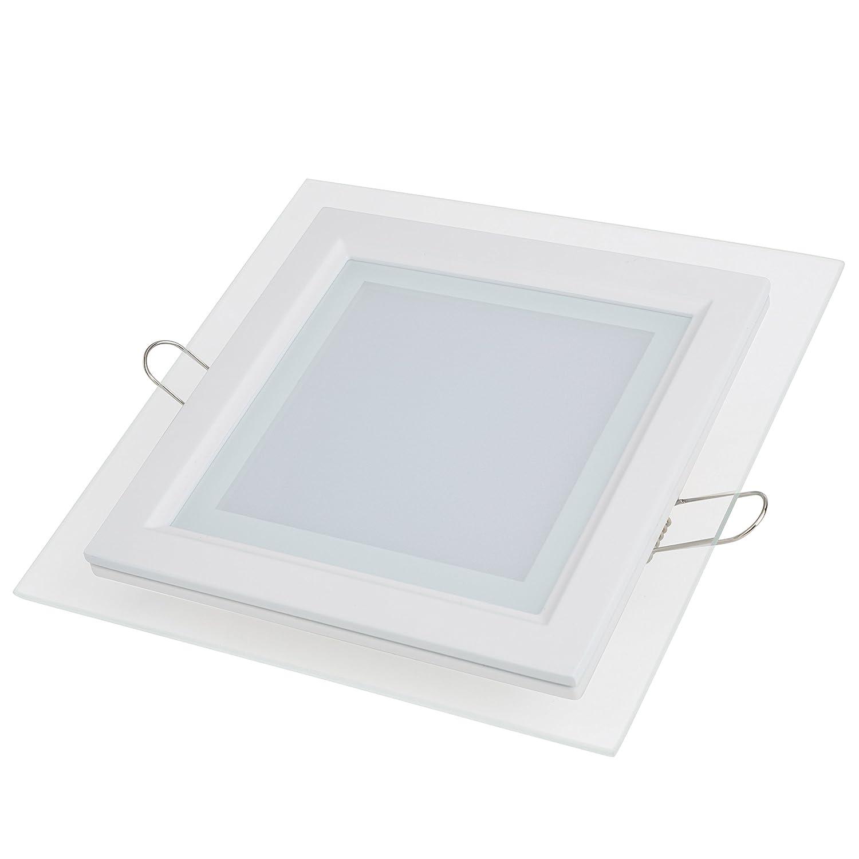 Greenice - Downlights de leds cuadrado de leds con cristal 12w [Clase de eficiencia energética A]