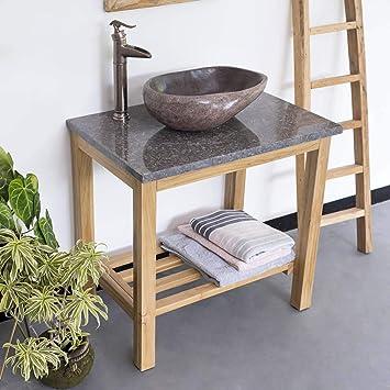 Wohnfreuden Waschtisch Aus Teak Holz ✓ 75 Cm Hoch ✓ Geschliffene Oberfläche  ✓ Ideal Für