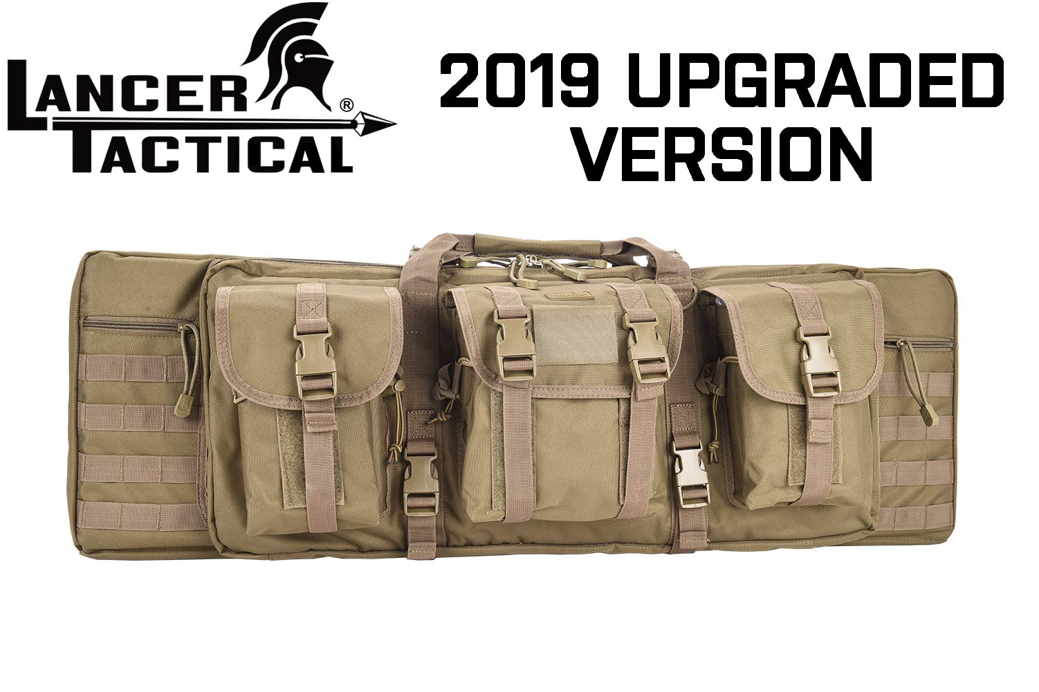 Lancer Tactical Rifle Case Solid Fabric Reinforced Stitch Thickened Foam Double Long Rifle Bag Tactical Gun Case Perfect for Hunting and Shooting (Coyote Brown, 36'' INCH) by Lancer Tactical