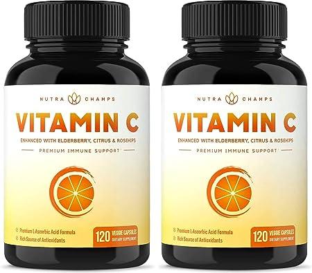 (2 Pack) Vitamin C 1000mg with Elderberry, Citrus Bioflavonoids & Rose Hips - 120 Capsules Vegan, Non-GMO Antioxidant Supplement for Immune Health & Collagen Production 500mg Powder Pills
