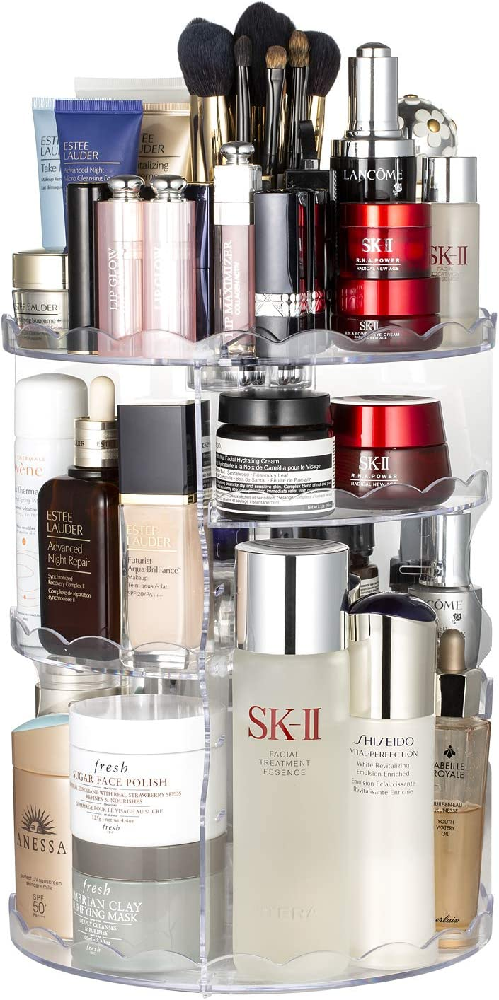 Jerrybox 360-Degree Rotating Makeup Organizer, Adjustable Multi-Function Cosmetic Storage Unit, Compact Size with Large Capacity, Fits Different Types of Cosmetics and Accessories (Clear, XX-Large)