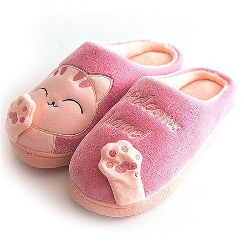 Zapatillas Casa Mujer Hombre Invierno Comodas Gato Pantuflas de Peluche Cálidas Interior Antideslizante Slippers: Amazon.es: Zapatos y complementos
