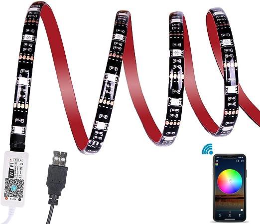 WiFi Tira LED TV, ALED LIGHT 2,2M Impermeable USB Tiras de LED Iluminación Retroiluminación APP Controlada Luces Led Coche Soporte Alexa, Google Home para 40-60 HDTV, PC, Exteriores(2x50+2x60): Amazon.es: Iluminación