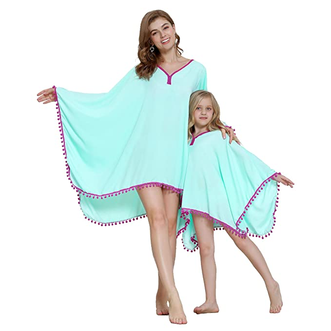 86bc419eebb64 Yaffi Mommy and Me Matching Beach Cover Up Chiffon Tassel Pom Pom Trim Swimsuit  Bikini Coverup