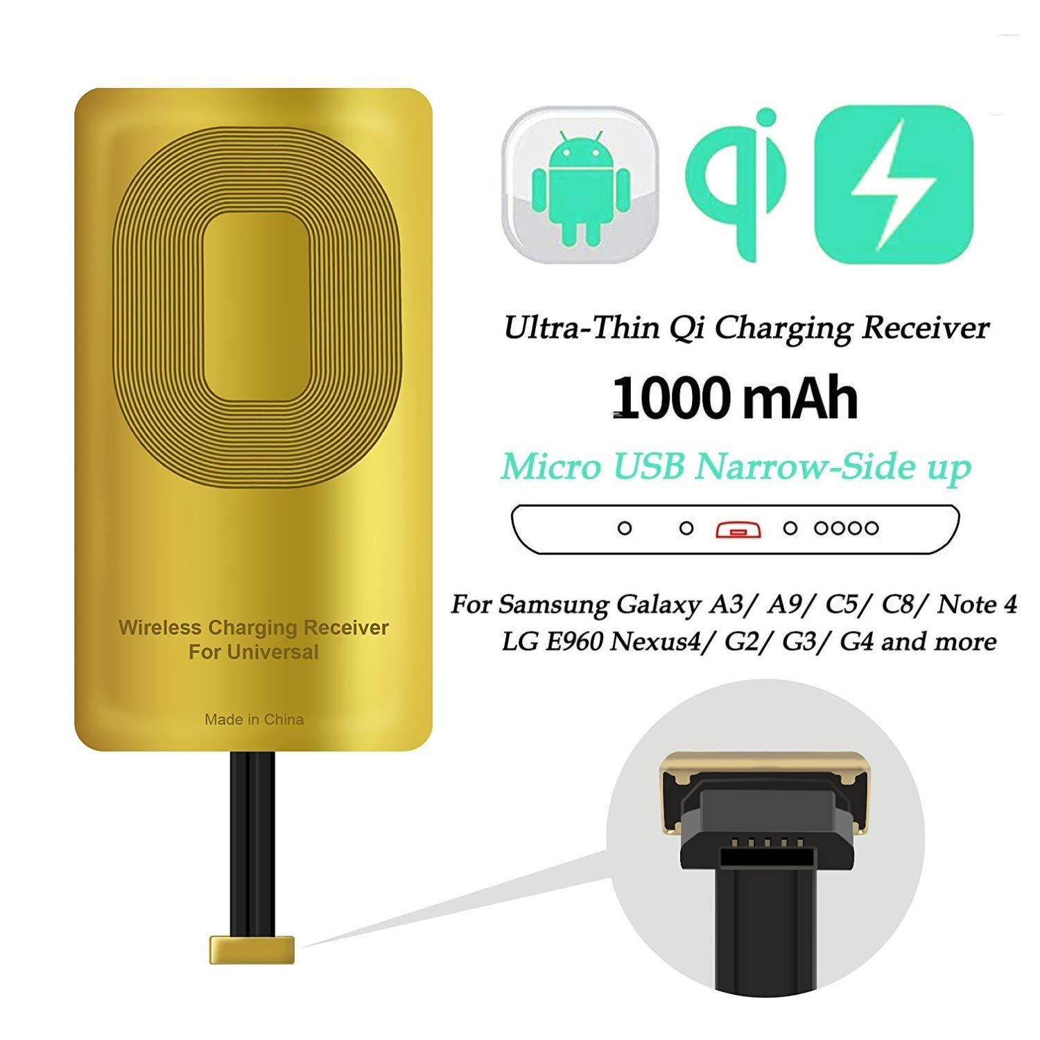 Positive Direction Type A Receiver Wireless Charger Receiver IGOUKJ Ultra Slim Portable Endurable Narrow Interface Up Positive Wireless Charging Receiver for Universal Android Micro USB Port Phone