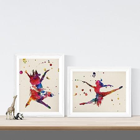 Pack de Dos láminas para enmarcar Bailarinas Estilo Acuarela ...