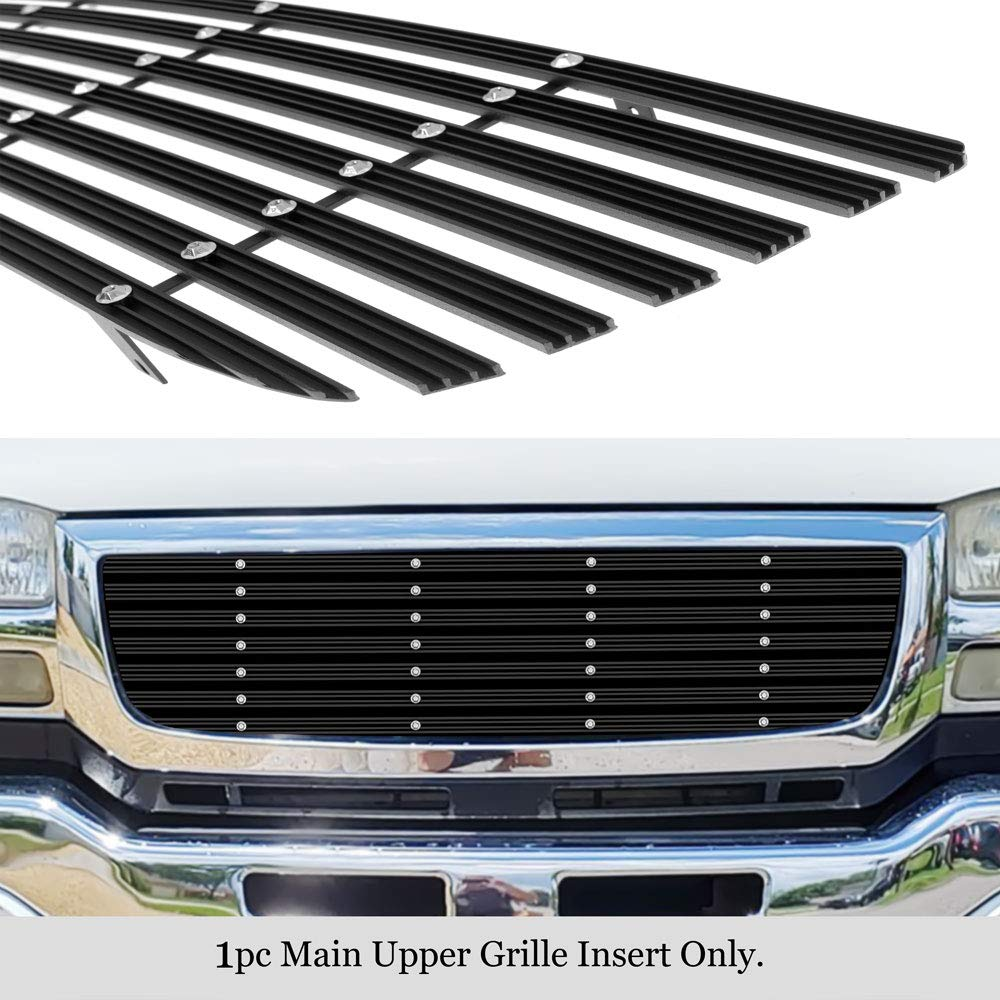 APS Compatible with 2003-2006 GMC Sierra 1500 2500 3500 /& 07 Classic Main Upper Black Wide 20mm Horizontal Channel with Rivet Studs Billet Grille Insert Self Assemble G85371W