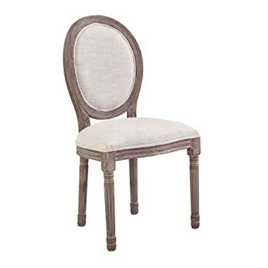 Modway Emanate French Vintage Upholstered Fabric Kitchen and Dining Room Chair in Beige - Fully Assembled