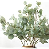 Artificial Round Eucalyptus Branches Green Plants Real Touch Leaves Fake Tree Steams Home Wedding Decoration