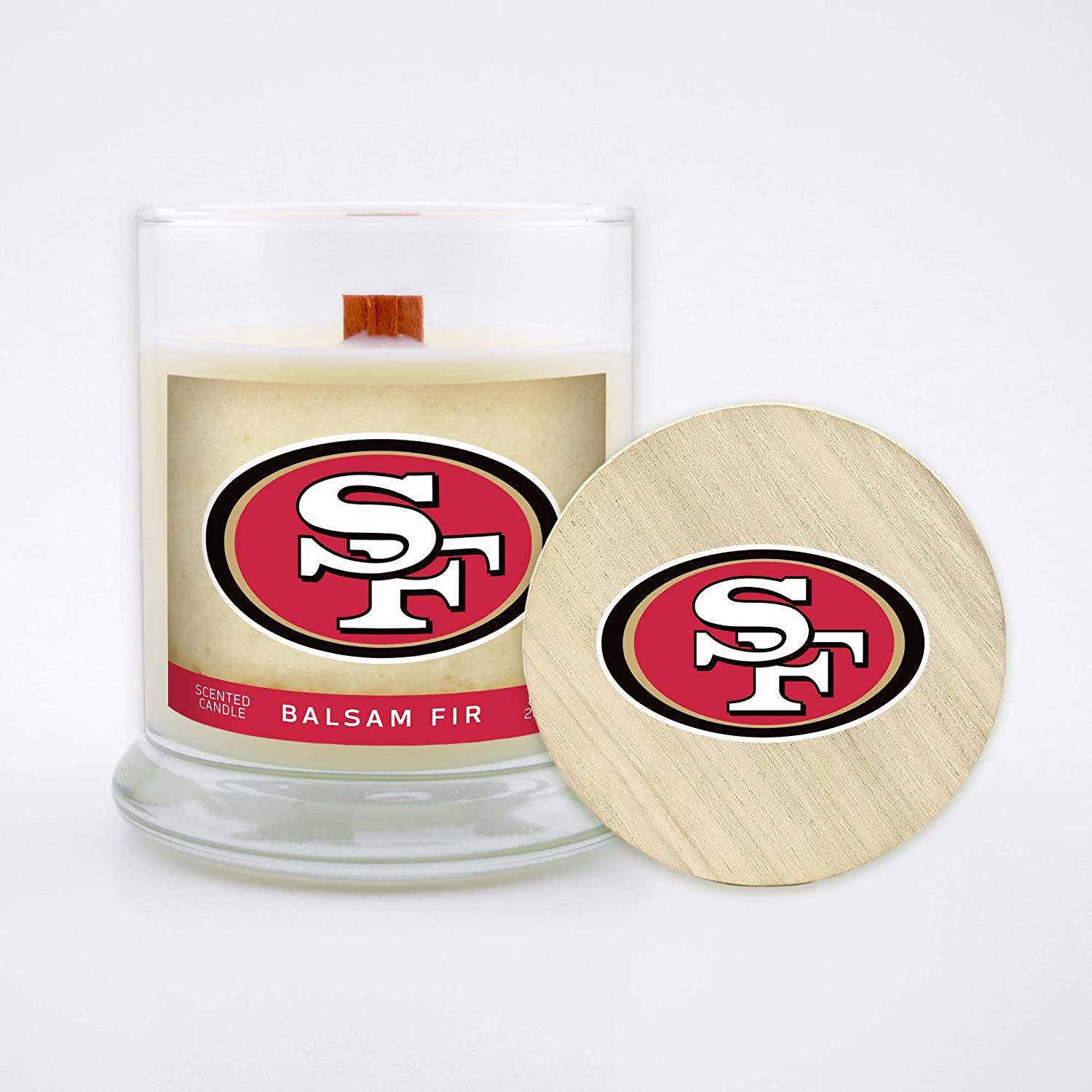 Worthy Promo NFL San Francisco 49ers Gifts 8oz Scented Candle Soy Wax w//Wood Wick and Lid Balsam Fir