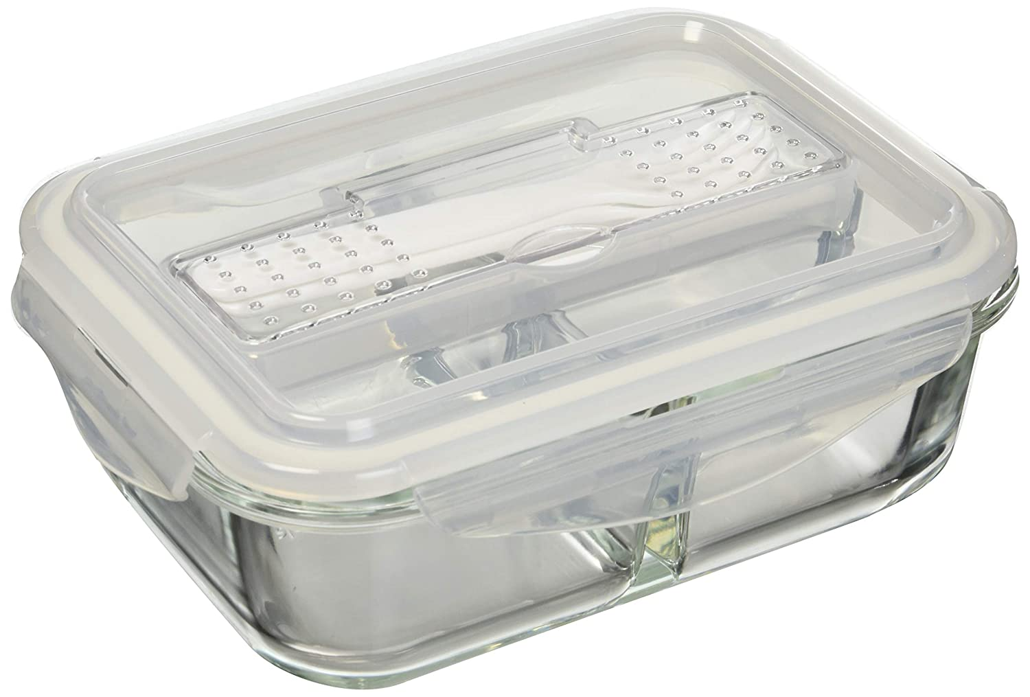 [3-Pack] Glass Meal Prep Containers 3 Compartment - Food Storage Container Set with Airtight Locking Lids with Cutlery Compartment - Portion Control - Microwave, Freezer, Oven & Dishwasher Safe HomeNative Ltd.