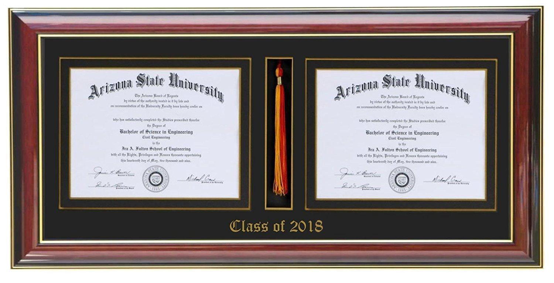 3art Double Diploma Tassel Frame 14x11 (Customizable)