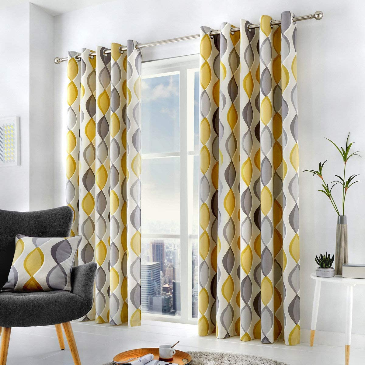 "Fusion - Lennox - 100% Cotton Ready Made Pair of Eyelet Curtains - 90"" Width x 72"" Drop (229 x 183cm) in Grey W229cm (90) x D183cm (72) Grey"