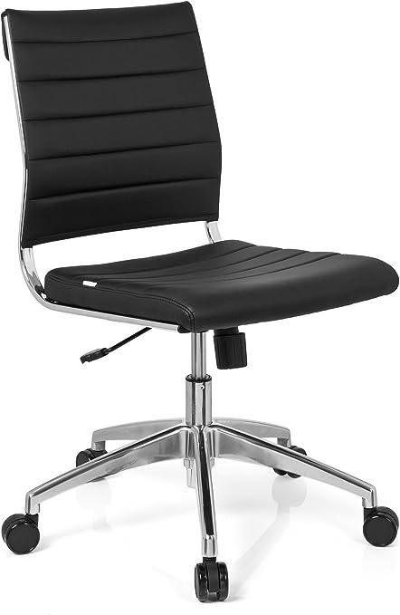 hjh OFFICE 720002 chaise de bureau, chaise bureau à roulettes TRISHA noir en simili cuir, siège pivotant sans accoudoirs, structure robuste en métal