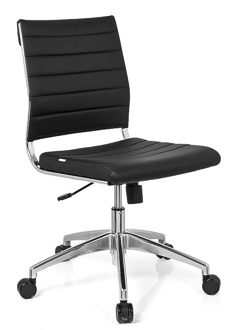 hjh OFFICE 720002 silla de oficina TRISHA piel sintética negro, cómodo, ergonómico, aluminio pulido, muy elegante, fácil de limpiar, con ruedas, ...