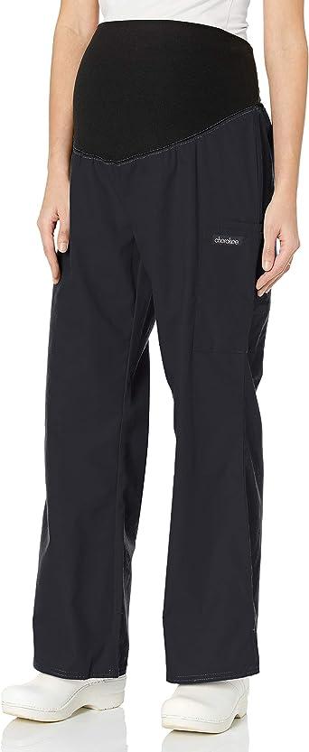 Amazon Com Cherokee Women S Petite Maternity Elastic Waist Scrubs Pant Black X Large Medical Scrubs Pants Clothing
